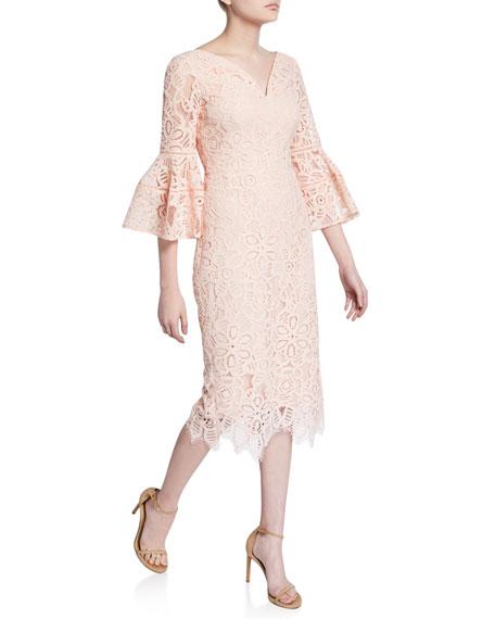 Lela Rose V-Neck Flutter-Sleeve Guipure Lace Dress