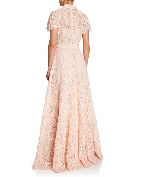 Lela Rose Lace Flutter-Sleeve Shirt Gown