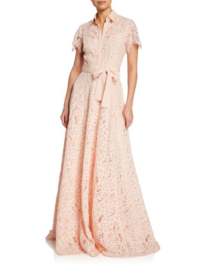 040255869a Lela Rose Lace Flutter-Sleeve Shirt Gown