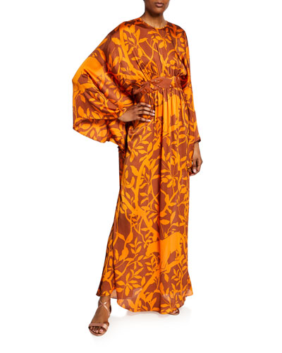 Vine Print Caftan Gown