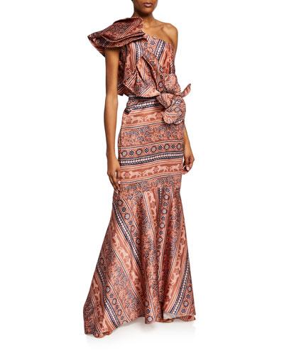 One-Shoulder Striped Jaguar Gown
