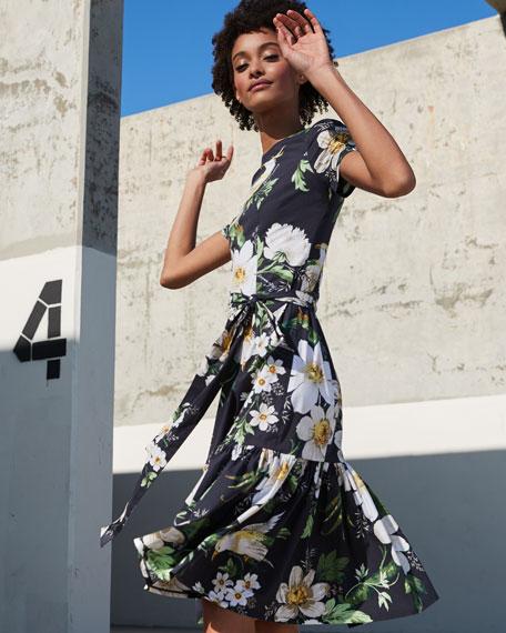 Carolina Herrera Midnight Floral Short-Sleeve Dress
