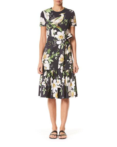 Carolina Herrera Dresses MIDNIGHT FLORAL SHORT-SLEEVE DRESS