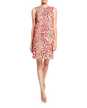 2989949a5dd Carolina Herrera Leopard-Print Sleeveless Shift Dress