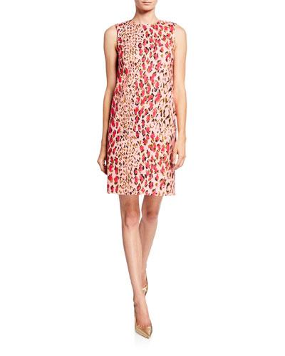Leopard-Print Sleeveless Shift Dress