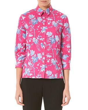 51bff34b4da36 Carolina Herrera Vine Leaf Print 3 4-Sleeve Shirt