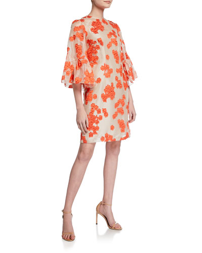 Floral-Embroidered Flutter-Sleeve Tunic Dress