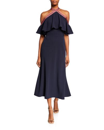 Cold-Shoulder Ribbon-Trim Flutter-Bodice Dress