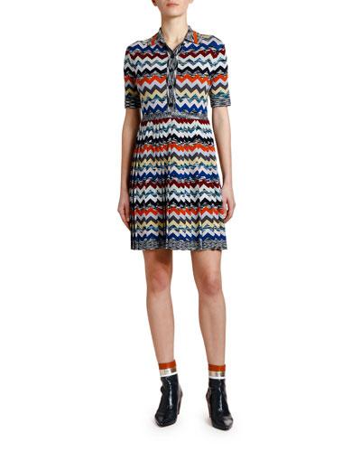 Pleated Zigzag Polo Dress