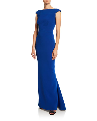 Cap-Sleeve Bonded Crepe Gown