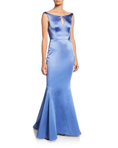 Stretch Satin Keyhole Trumpet Gown