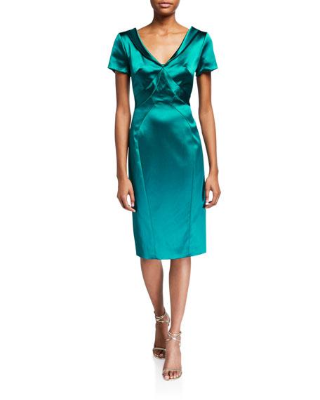 Zac Posen Wide V Neck Satin Dress by Zac Posen