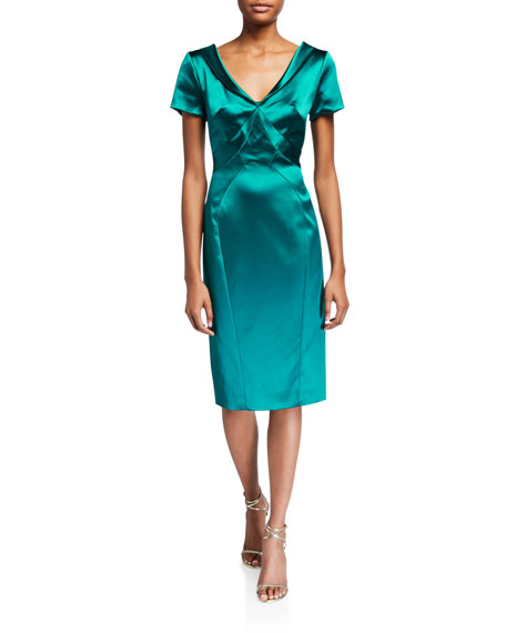 Zac Posen Dresses WIDE V-NECK SATIN DRESS