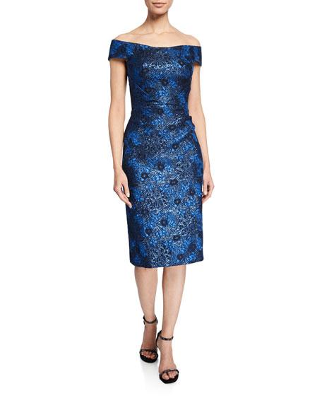 Zac Posen Dresses Off-the-Shoulder Metallic Party Jacquard Dress