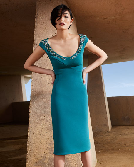 Zac Posen Sequined Neck Bonded Crepe Dress