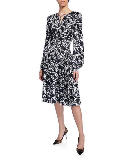 Zac Posen Dresses FLORAL-PRINT TIE-NECK BLOUSON-SLEEVE SILK TWILL DRESS