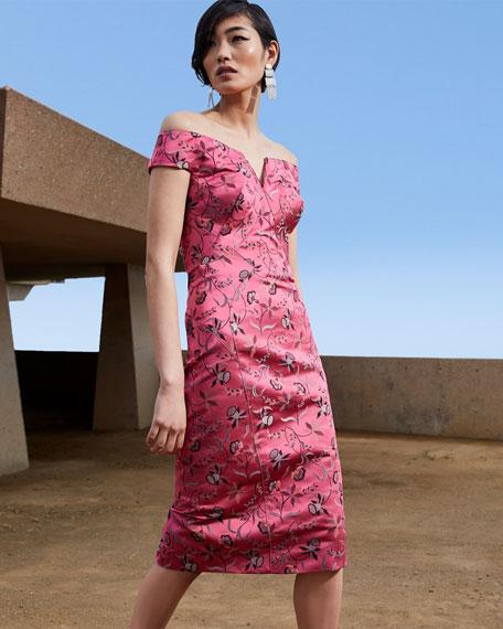Zac Posen Off-the-Shoulder Jacquard Dress