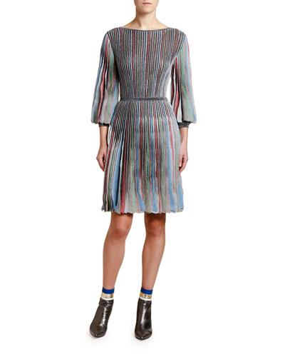 3/4 Flared Sleeve Plisse Dress