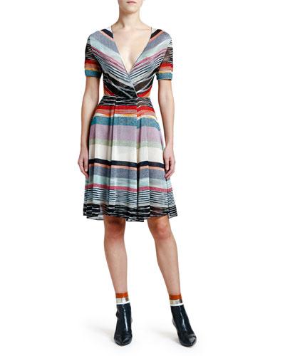 Shimmer-Striped V-Neck Dress