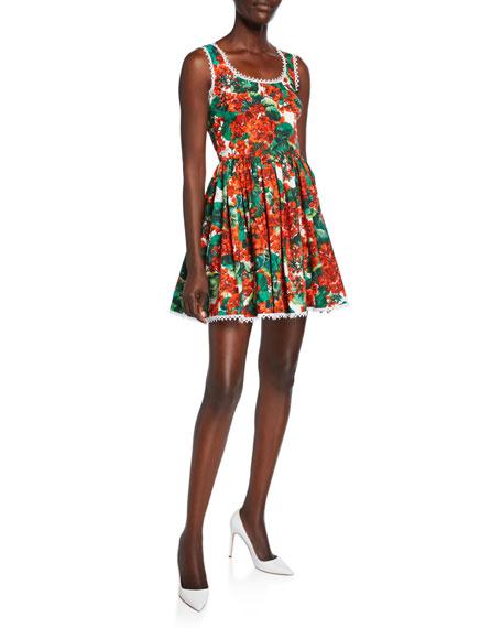 Dolce & Gabbana Geranium Sleeveless Cotton Poplin Fit-&-Flare Short Dress