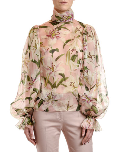 Lily Organza Turtleneck Blouse