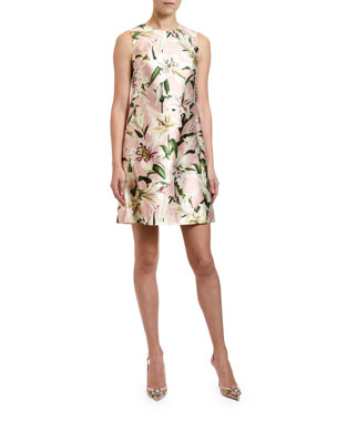 d4d6d7713f Dolce & Gabbana Lily Print Silk Shantung Shift Dress