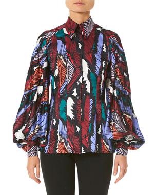 17987417f42 Carolina Herrera Puff-Sleeve Printed Button-Front Shirt