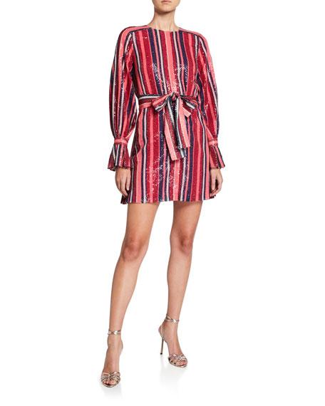 Carolina Herrera Puff-Sleeve Striped Sequin Mini Dress