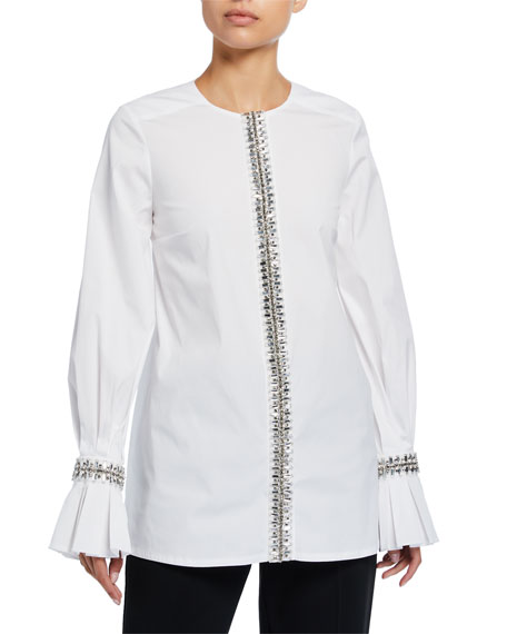 Carolina Herrera Embroidered Poplin Puff-Sleeve Tunic