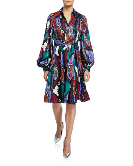 Carolina Herrera Puff-Sleeve Feather-Print Dress