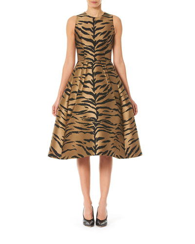 Tiger Print Taffeta Fit-&-Flare Dress