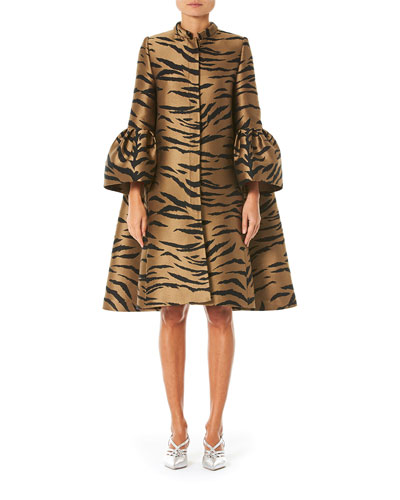Flare Sleeve Tiger Print Cape Coat