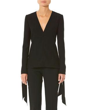 0beabd055527f Carolina Herrera Tie-Cuff Long-Sleeve Blouse