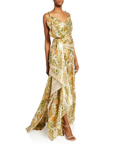 Floral Bouquet Metallic Drape-Front Gown