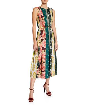 8b3c6058ecd4a9 Oscar de la Renta Scarf-Striped Pleated Midi Dress