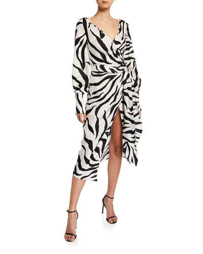 Zebra-Print Crossover V-Neck Dress