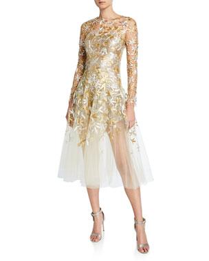 c6897cdeb672 Oscar de la Renta Golden-Leaf Cocktail Dress