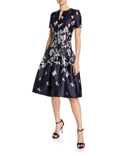 Short-Sleeve Floral Mikado Fit & Flare Dress