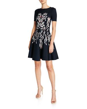 c0296bbd8f8a4a Oscar de la Renta Short-Sleeve Floral-Intarsia Knit Dress