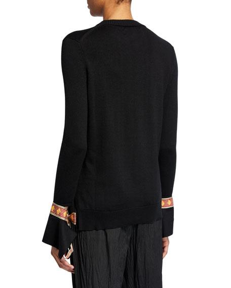Oscar de la Renta Crewneck Ribbon-Cuff Dress