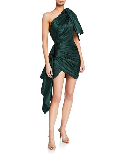 One-Shoulder Draped Taffeta Dress