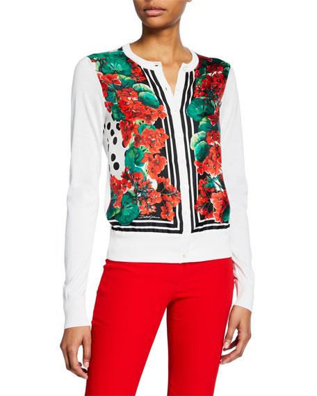 Dolce & Gabbana Long-Sleeve Geranium-Print Cardigan