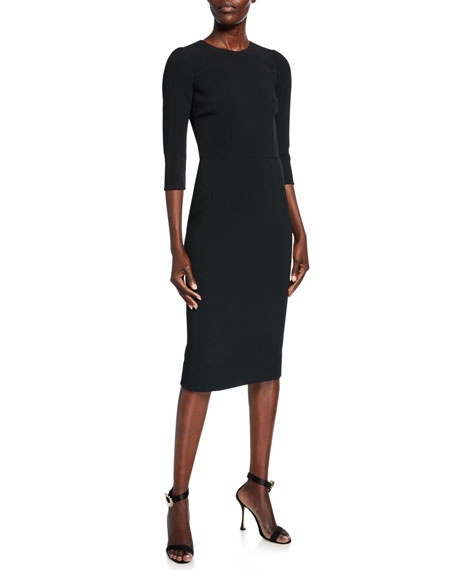 Image 1 of 2: Dolce & Gabbana 3/4-Sleeve Crepe Dress