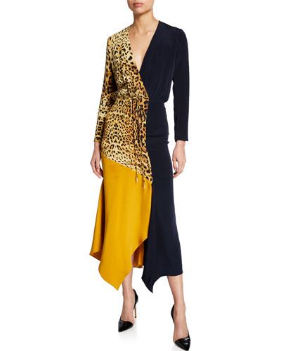 Leopard Print & Colorblocked Wrap Dress