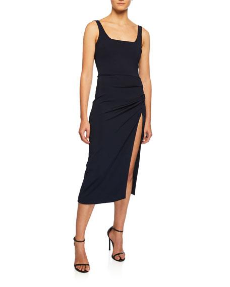 CUSHNIE Square-Neck Sleeveless Cocktail Dress