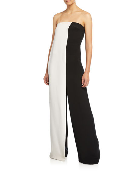CUSHNIE Strapless Colorblocked Jumpsuit