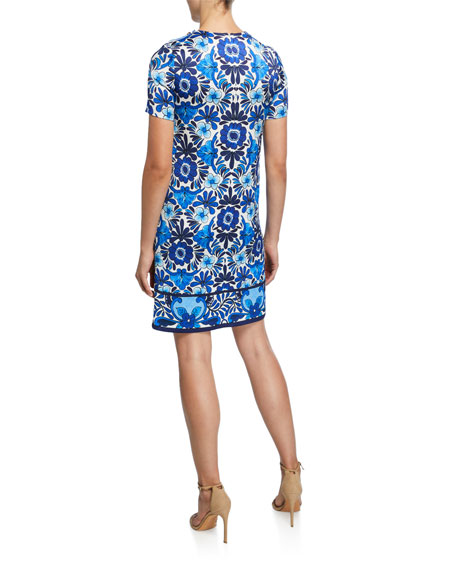 Escada Ceramic-Print Hammered Shift Dress