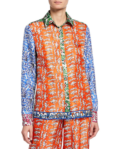 Escada Tops CERAMIC PRINT BUTTON-FRONT BLOUSE