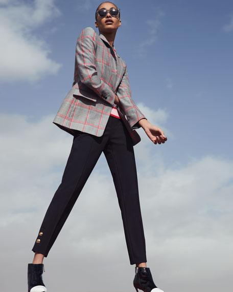 Escada Short-Sleeve Zigzag-Print Sweater