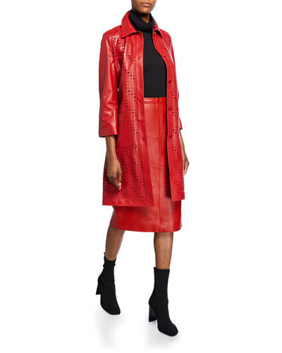 Logo-Stenciled Leather Trench Coat